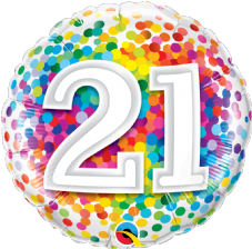 21st Birthday Confetti Design Foil Balloon